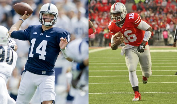 (Left) Sophomore quarterback Christian Hackenberg makes a pass during a Sept. 6 game against Akron in State College, Pa. Penn State won, 21-3. Credit: Courtesy of TNS (Right) Redshirt-freshman quarterback J.T. barrett carries the ball during a game against Rutgers on Oct. 18 at Ohio Stadium. OSU won, 56-17. Credit: Mark Batke / Photo editor