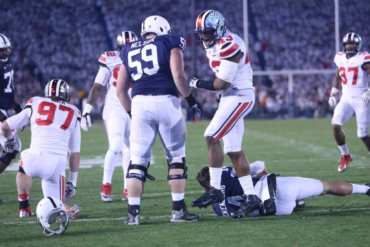 OSU redshirt-freshman linebacker Darron Lee (43) celebrates after a sack of Penn State sophomore quarterback Christian Hackenberg during an Oct. 25 game in State College, Pa. OSU won in double-overtime, 31-24. Credit: Mark Batke / Photo editor