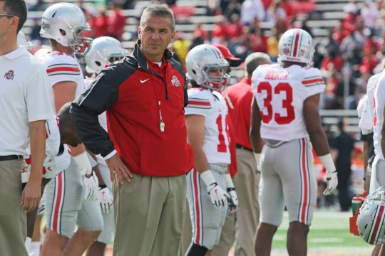 Coach Urban Meyer looks on during a game against Maryland on Oct. 4 in College Park, Md. OSU won, 52-24. Credit: Mark Batke / Photo editor