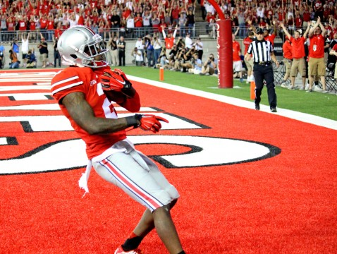Sophomore H-back Dontre Wilson (2) catches a touchdown pass during a game against Cincinnati on Sept. 27 at Ohio Stadium. OSU won, 50-28.  Credit: Chelsea Spears / Multimedia editor