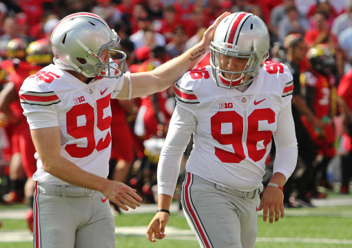 Sophomore punter Cameron Johnston (95) and freshman kicker Sean Nuernberger (96) walk off the field during a game against Maryland on Oct. 4 in College Park, Md. OSU won, 52-24. Credit: Mark Batke / Photo editor