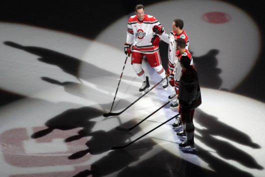 OSU players are introduced into a game against Guelph on Oct. 4 at Value City Arena. OSU won, 7-1.  Credit: Melissa Prax / Lantern photographer