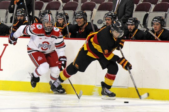 Senior forward Matt Johnson (26) chases an opponent during an exhibition against Guelph on Oct. 4 at the Shottenstein Center. OSU won, 7-1. Credit: Melissa Prax / Lantern photographer