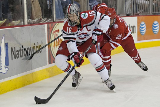 Senior forward Tanner Fritz (16) controls the puck during a game against Miami (OH) Oct. 17 at the Schottenstein Center. OSU lost 5-1. Credit: Michael Griggs / For The Lantern