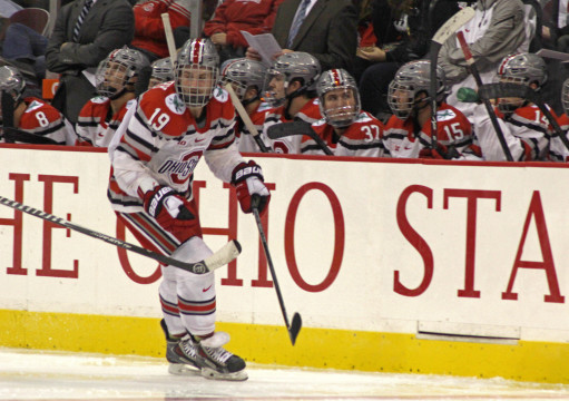 OSU senior forward Chad Niddery skates up the ice during an exhibition game against Guelph Oct. 4. at the Schottenstein Center. OSU won 7-1.  Credit: Melissa Prax / Lantern photographer