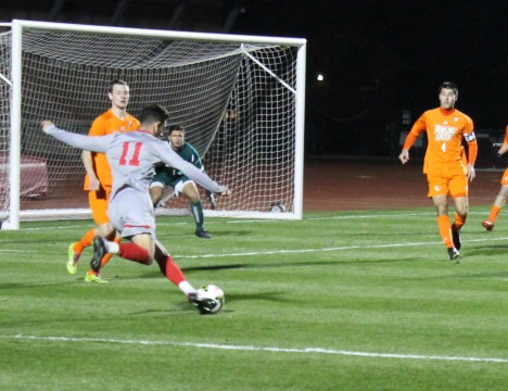 Senior midfielder Max Moller (11) takes a shot during OSU's 3-0 win against Bowling Green on Oct. 22 at Jesse Owens Memorial Stadium. Credit: Patrick Kalista / Lantern photographer