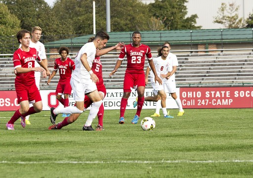 Senior defender Kyle Culbertson (3) attempts a penalty kick during a game against Indiana on Oct. 12 at Jesse Owens Memorial Stadium. OSU lost, 2-1, as Culbertson made one penalty kick, but missed another in the game's closing minutes. Credit: Ed Momot / For The Lantern