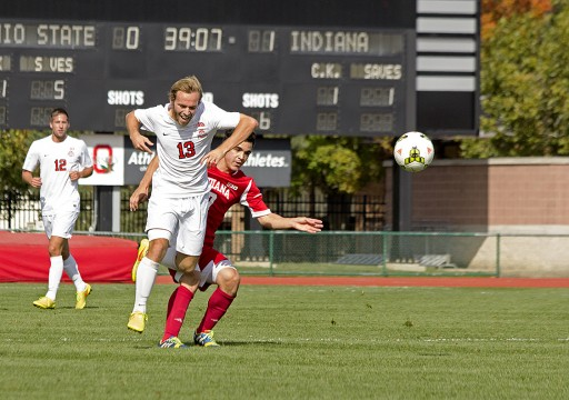 OSU sophomore forward Christian Soldat (13) battles for position during a game against Indiana Oct. 12. at Jesse Owens Memorial Stadium. OSU lost 2-1.  Credit: Ed Momot / For The Lantern