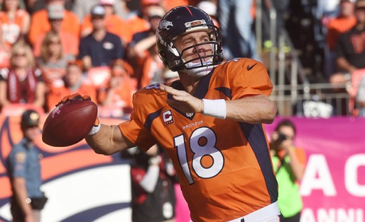 Denver Broncos quarterback Peyton Manning throws the ball during a game against the Arizona Cardinals on Oct. 5 in Denver. The Broncos defeated the Cardinals, 41-20. Credit: Courtesy of TNS