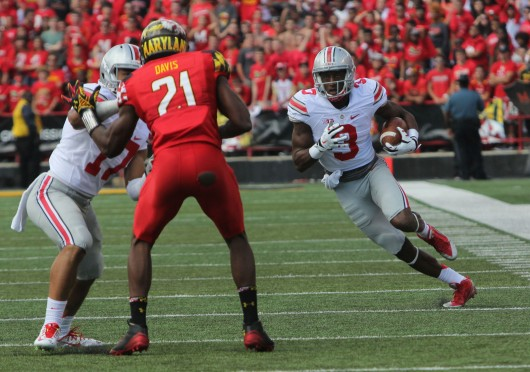 Redshirt-sophomore wide receiver Michael Thomas (3) runs the ball after a catch during a game against Maryland on Oct. 4 at Byrd Stadium in College Park, Md. OSU won, 52-24.  Credit: Mark Batke / Photo editor