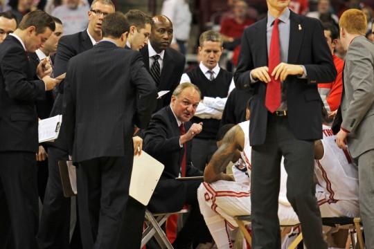 Thad Matta (center) instructs his team during a timeout of a game against North Dakota State Dec. 14 at the Schottenstein Center. OSU won, 79-62. Credit: Lantern file photo