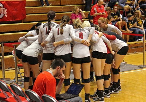 Members of the OSU volleyball team huddle together during a game against Florida Gulf Coast Sept. 5 at St. John Arena. OSU won 3-1 Credit: Emily Yarcusko / For The Lantern