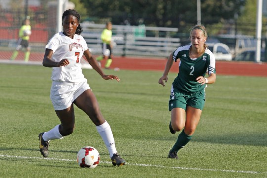 Then-freshman forward Nichelle Prince (7) dribbles the ball past an Eastern Michigan defender Aug. 25, 2013 ar Jesse Owens Stadium. OSU won, 2-1, in overtime.  Credit: Lantern file photo