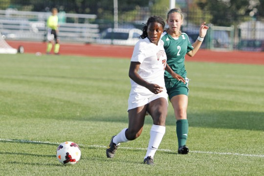 Then-OSU freshman forward Nichelle Prince makes a pass during a game against Eastern Michigan Aug. 25, 2013. OSU won 2-1 in OT.  Credit: Lantern file photo