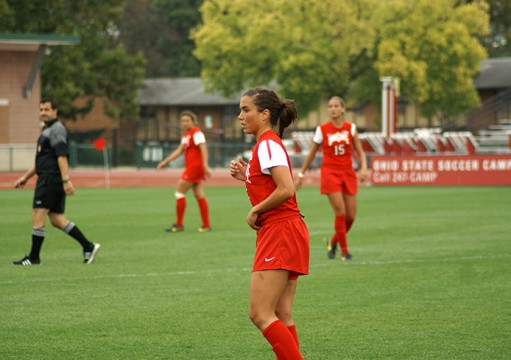 Then-junior midfielder Ellyn Gruber (5) watches her teammates during a game against Purdue Sept. 29, 2013 at Jesse Owens Memorial Stadium. OSU lost, 1-0. Credit: Michele Theodore / Managing editor for content