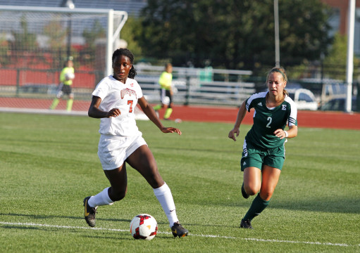 OSU then-freshman forward Nichelle Prince (7) looks for an open teammate during a game against Eastern Michigan Aug. 25, 2013. OSU won 2-1 in OT.  Credit: Lantern file photo