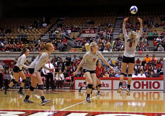 Senior setter Taylor Sherwin (8) backsets to sophomore middle blocker Taylor Sandbothe (10) in a match against Northwestern on Saturday Oct.11 at St. Johns Arena. OSU won 3-1. Credit: Abby Hofrichter / For The Lantern
