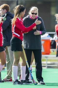 OSU field hockey coach Anne Wilkinson won her 300th career game on Oct. 17 when the Buckeyes beat Indiana, 2-1, in overtime.  Credit: Ben Jackson / For The Lantern