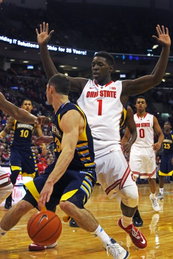 OSU freshman forward Jae'Sean Tate in action during a game against Marquette on Nov. 18 in Columbus. Credit: Muyao Shen / Lantern photographer