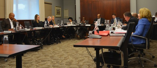 Members of the OSU Board of Trustees meet Nov. 6 at the Longaberger Alumni House. Credit: Robert Scarpinito / For The Lantern