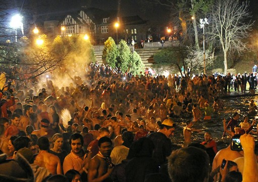 OSU fans jump in Mirror Lake between Nov. 25-26.