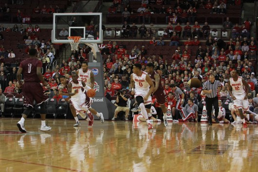 Senior guard Shannon Scott (3) follows freshman guard D'Angelo Russell (0) down the court on a fast break during an exhibition game against Walsh on Nov. 9 at the Schottenstein Center. OSU won,  Credit: Patrick Kalista / Lantern photographer