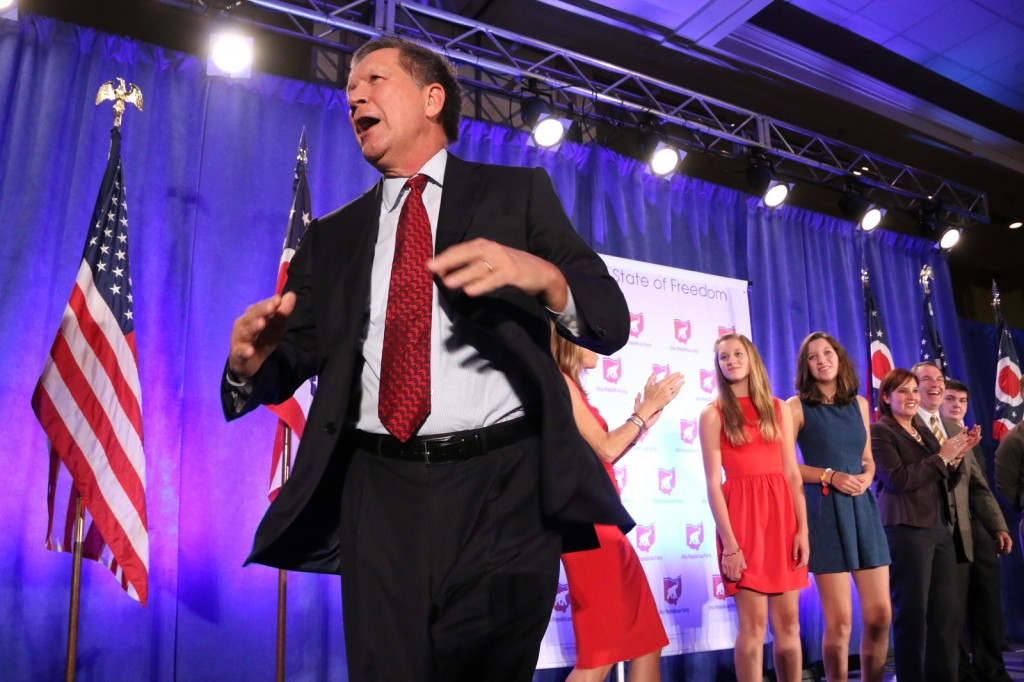 Gov. John Kasich celebrates the news of his re-election at the Franklin County Republican Election Night event on Nov. 4 at the Renaissance Columbus Downtown Hotel. Credit: Yann Schreiber / Lantern reporter