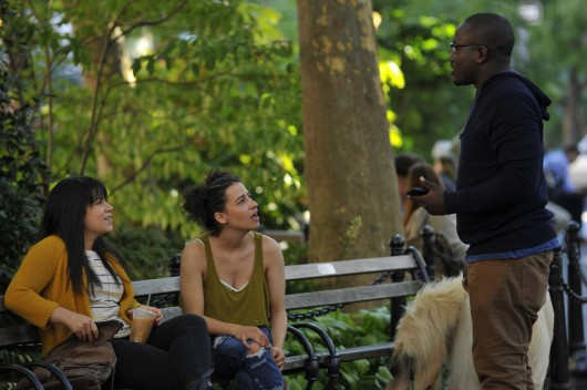 From left: Abbi Jacobson, Ilana Glazer and Hannibal Buress in a scene from Comedy Central's 'Broad City' Credit: Photo by Walter Thompson, courtesy of Comedy Central
