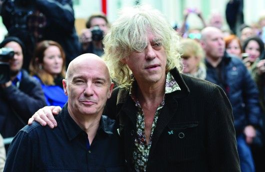 Midge Ure (left) and Bob Geldof arrive for the recording of the Band Aid 30 single Nov. 15 at Sarm Studios in Notting Hill in London. Credit: Courtesy of TNS