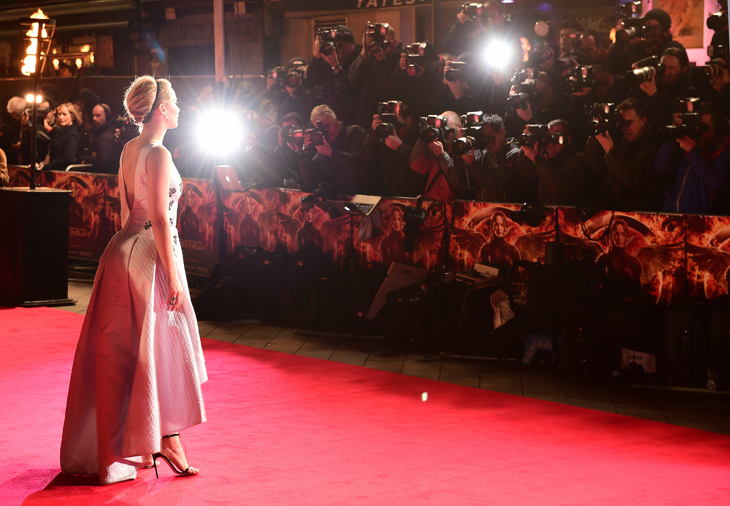 Jennifer Lawrence arrives at the UK film premiere of 'The Hunger Games: Mockingjay, Part 1,' on Nov. 10 at the Odeon in Leicester Square, London. Credit: Courtesy of TNS