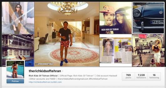 A screenshot of Rich Kids of Tehran's Instagram page