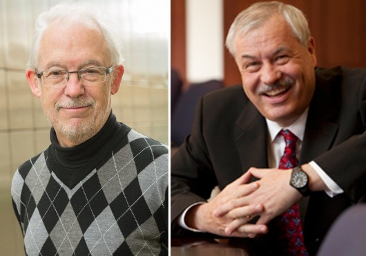 (Left) Martin Tusler, a research specialist in psychology at OSU, (Right) Rene Stulz, the Everett D. Reese Chair of Banking and Monetary Economics at OSU's Fisher College of Business.  Credit: Courtesy of OSU
