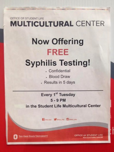 A flyer offering 'free syphilis testing' is seen inside the Student Wellness Center at the RPAC on Oct. 29. Credit: Lauren Every / Lantern reporter