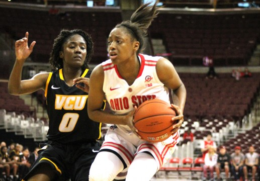 OSU freshman guard Kelsey Mitchell holds possession of the ball in the second half of the OSU Women's basketball game against VCU November 23, 2014. OSU went on to win 96-86.