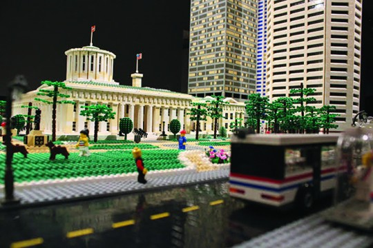 Members of the Central Ohio Lego Train Club built a replica of the Ohio Statehouse in downtown Columbus with Legos.  Credit:  Courtesy of Nancy Colvin and Jeff Sims