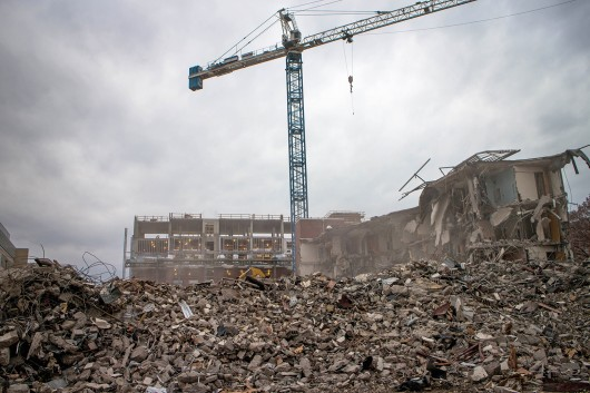 Blackburn House's demolition Nov. 11 Credit: Cailin Pitt / For The Lantern