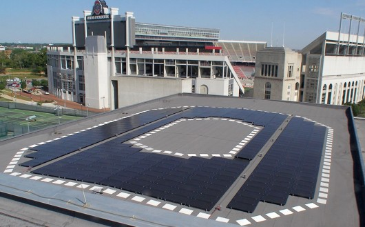 AEP Energy recently installed a solar array on the roof of OSU's RPAC. Credit: Courtesy of OSU