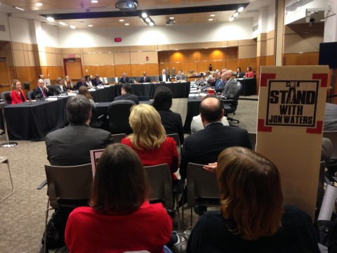 Ohio State's Board of Trustees met Friday at the Ross Heart Hospital — a meeting that came with protests from Jon Waters supporters. Credit: Daniel Bendtsen / Asst. arts editor