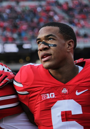 Senior wide receiver Evan Spencer sings 'Carmen Ohio' after a game against Indiana on Nov. 22 at Ohio Stadium. OSU won, 42-27, in Spencer's second-to-last game at the Horseshoe. Credit: Mark Batke / Photo editor