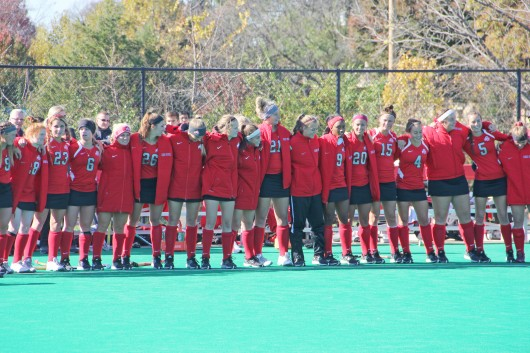 Members of the Ohio State field hockey team sing 'Carmen Ohio' after a 2-1 loss to Michigan on Nov. 2 at Buckeye Varsity Field. Credit: Lantern file photo