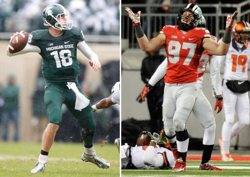 (Left) Michigan State's Connor Cook (18) is forced into intentional grounding on the rush by Michigan's Courtney Avery and James Ross III, right, in the first half at Spartan Stadium in East Lansing, Michigan, on Saturday, November 2, 2013.  Credit: Courtesy of TNS (Right) OSU sophomore defensive end Joey Bosa (97) reacts after sacking Illinois sophomore quarterback Aaron Bailey (15) during a Nov. 1 game at Ohio Stadium. OSU won, 55-14. Credit: Ben Jackson / For The Lantern