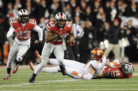 Redshirt-freshman linebacker Darron Lee (43) intercepts a pass from Illinois senior quarterback Rielly O'Toole during a Nov. 1 game at Ohio Stadium. OSU won, 55-14.  Credit: Ben Jackson / For The Lantern