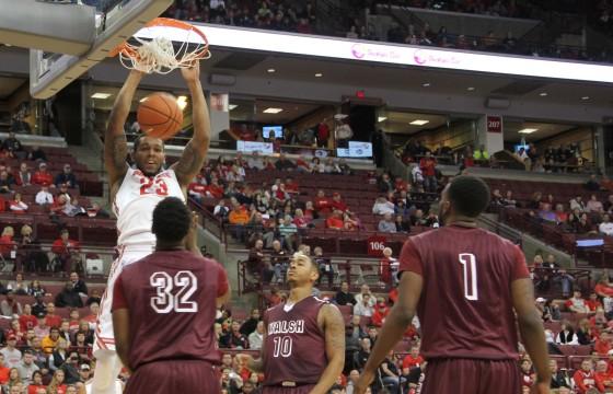 Senior center Amir Williams (23) dunks the ball during an exhibition against Walsh on Nov. 9 at the Schottenstein Center. OSU won, 77-37. Credit: Patrick Kalista / Lantern photographer