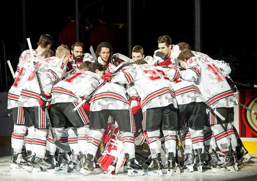 The OSU men's hockey team huddles prior to a Nov. 8 game against Nebraska-Omaha at the Schottenstein Center. OSU lost, 4-3. Credit: Kelly Roderick / For The Lantern