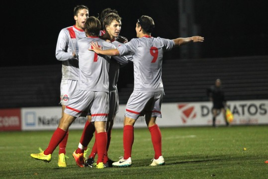 Members of the OSU men's soccer team celebrate during a 4-1 win against Rutgers on Oct. 25 at Jesse Owens Memorial Stadium.  Credit: Taylor Cameron / Lantern photographer