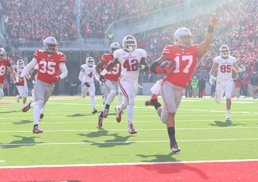 Redshirt-freshman H-back Jalin Marshall (17) returns a punt for a touchdown during a game against Indiana on Nov. 22 at Ohio Stadium. OSU won, 42-27. Credit: Mark Batke / Photo editor