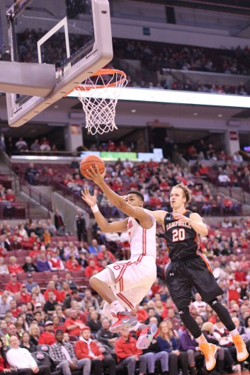 Freshman guard D'Angelo Russell (0) goes for a layup during a game against Campbell on Nov. 26 at the Schottenstein Center. OSU won, 91-64. Credit: Ed Momot / For The Lantern
