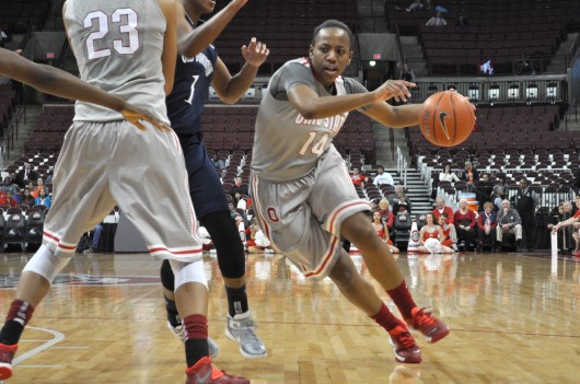 Then-sophomore guard Ameryst Alston drives to the hoop in a game against Old Dominion Nov. 22 at the Schottenstein Center. OSU won, 75-60.  Credit: Liz Young / Editor in chief