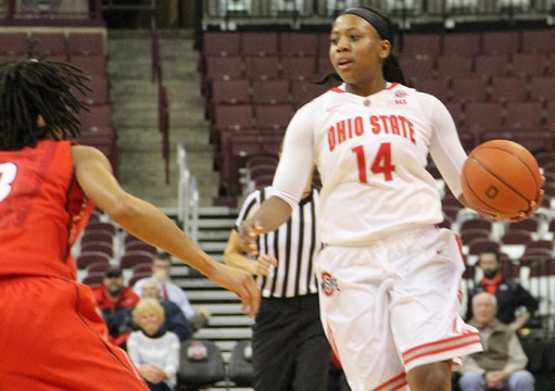 Junior guard Ameryst Alston (14) brings the ball up the floor in a game against Georgia Nov. 19 at the Schottenstein Center. OSU lost, 67-59. Credit: Jordan Boone / Lantern reporter