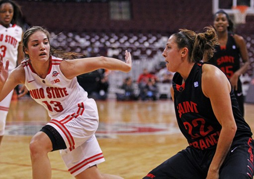 St. Francis senior guard Alexa Haywood (22) dribbles the ball during a game Nov. 16 against OSU at the Schottenstein Center. OSU won, 113-97. Credit: Tessa DiTirro / Lantern photographer